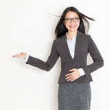 Businesswoman hand showing something Royalty Free Stock Image