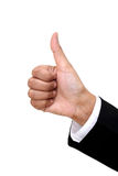 Businesswoman hand shows thumbs up Stock Photo