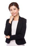 Businesswoman with hand touch on face Royalty Free Stock Images