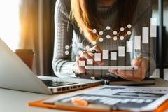 Digital marketing media in virtual screen.business stock illustration