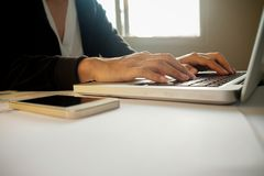 Businesswoman hand working with new modern computer Royalty Free Stock Photos