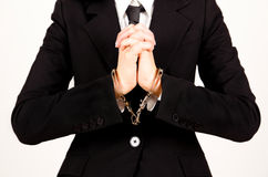 Businesswoman handcuffed Stock Photo
