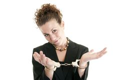 Businesswoman in handcuffs Royalty Free Stock Photos