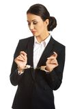 Businesswoman with handcuffs Royalty Free Stock Image