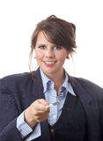 Businesswoman handing a business card Royalty Free Stock Photo