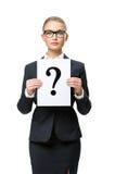 Businesswoman handing question mark Stock Image