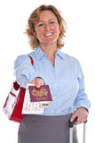 Businesswoman handing you her passport Royalty Free Stock Photography