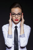 Businesswoman handle black glassess Royalty Free Stock Photos