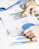 Businesswoman hands analyzing financial statistics. Business woman Meeting Planning Analysis Statistics Brainstorming Concept. Analysis of financial reports Stock Image