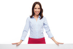 Businesswoman with hands on banner Stock Photos