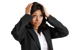 Businesswoman hands on head due to failure Royalty Free Stock Photos