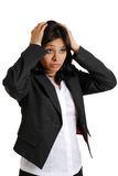 Businesswoman hands on head due to failure Royalty Free Stock Photo