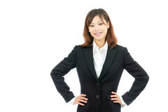 Businesswoman with hands on hips Royalty Free Stock Photos