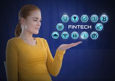 Businesswoman with hands palm open and Fintech with various business icons Royalty Free Stock Images