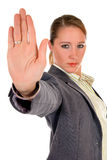 Businesswoman hands stop Royalty Free Stock Photo