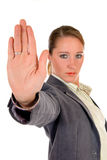 Businesswoman hands stop Royalty Free Stock Image