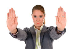 Businesswoman hands stop Stock Photo