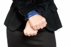 Businesswoman hands tied, job slave, isolated Royalty Free Stock Photography