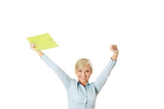 Businesswoman with hands up Royalty Free Stock Photography