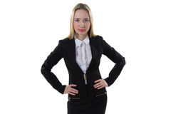 Businesswoman with hands on the waist Royalty Free Stock Photos