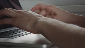 Businesswoman hands working on laptop computer stock footage