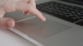 Businesswoman hands working on laptop computer stock video