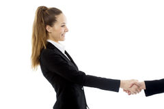 Businesswoman handshake on white background studio Royalty Free Stock Photo
