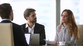 Businesswoman handshaking new male partner making deal finishing group negotiations stock video footage