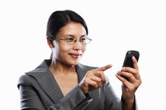 Businesswoman happy expression using video call Stock Image