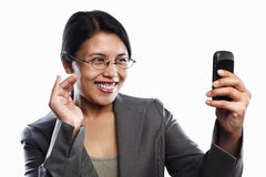 Businesswoman happy expression using video call Royalty Free Stock Photos