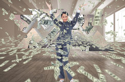 Businesswoman happy with her falling money. Digital composite of business models with falling money Stock Image