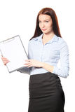 Businesswoman happy smile writing on clipboard sign up contract, Stock Photography