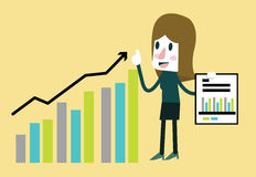 Businesswoman happy statistics financial profit rising bar. Flat character design. vector illustration Stock Photos