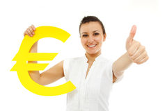 Businesswoman happy thumb up with euro symbol Stock Photos