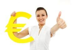 Businesswoman happy thumb up with euro symbol Stock Photos