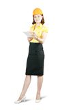 Businesswoman in hard hat Stock Images