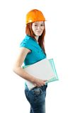 Businesswoman in hard hat Royalty Free Stock Image