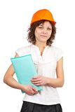 Businesswoman in hard hat Royalty Free Stock Photos