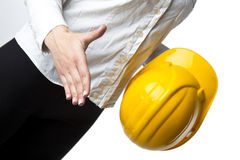 Businesswoman with hardhat Ready For Handshaking Stock Image