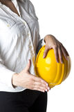 Businesswoman with hardhat Ready For Handshaking Royalty Free Stock Photos