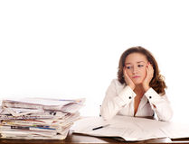 Businesswoman has a headcahe. royalty free stock images