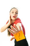 Businesswoman has a question Stock Photography