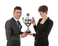 Businesswoman has won a trophy Royalty Free Stock Images