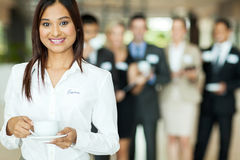 Businesswoman having coffee Royalty Free Stock Photos