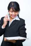 Businesswoman having discussion over the phone royalty free stock photos