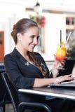 Businesswoman having fun in cafe Stock Photos