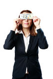 Businesswoman having fun with US dollars Royalty Free Stock Photos