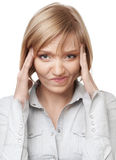 Businesswoman having headache Royalty Free Stock Photos