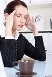 Businesswoman having headache. Royalty Free Stock Photos