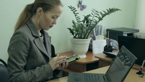Businesswoman having a phone stock video